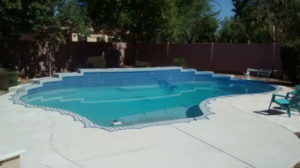 Large pool net covering an irregular shaped pool