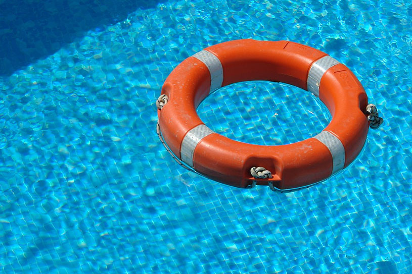 lifesaver floating in a swimming pool